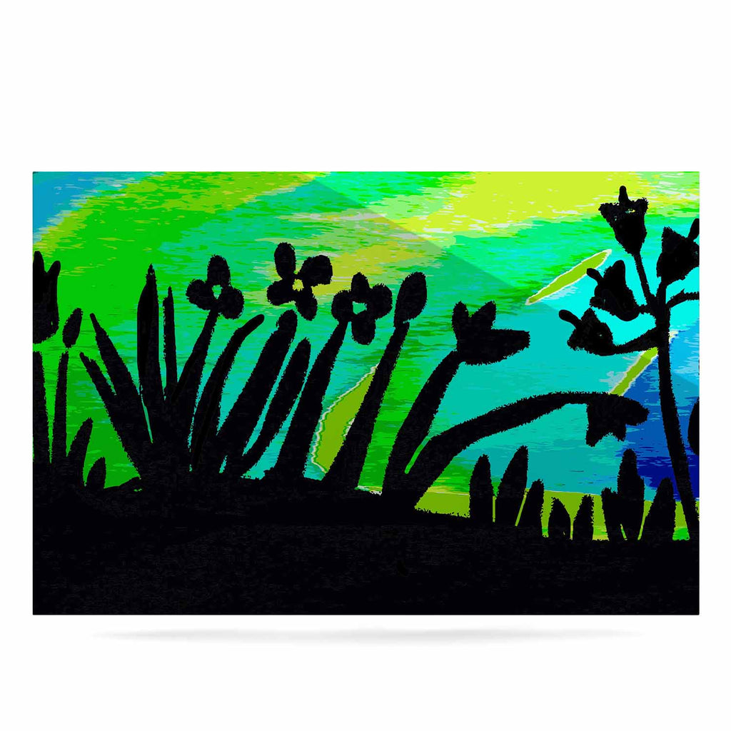 "Laura Nicholson ""Wild Landscape"" Blue Green Nature Fantasy Watercolor Illustration Luxe Rectangle Panel"