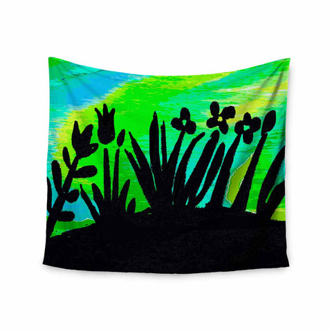 "Laura Nicholson ""Wild Landscape"" Blue Green Nature Fantasy Watercolor Illustration Wall Tapestry"