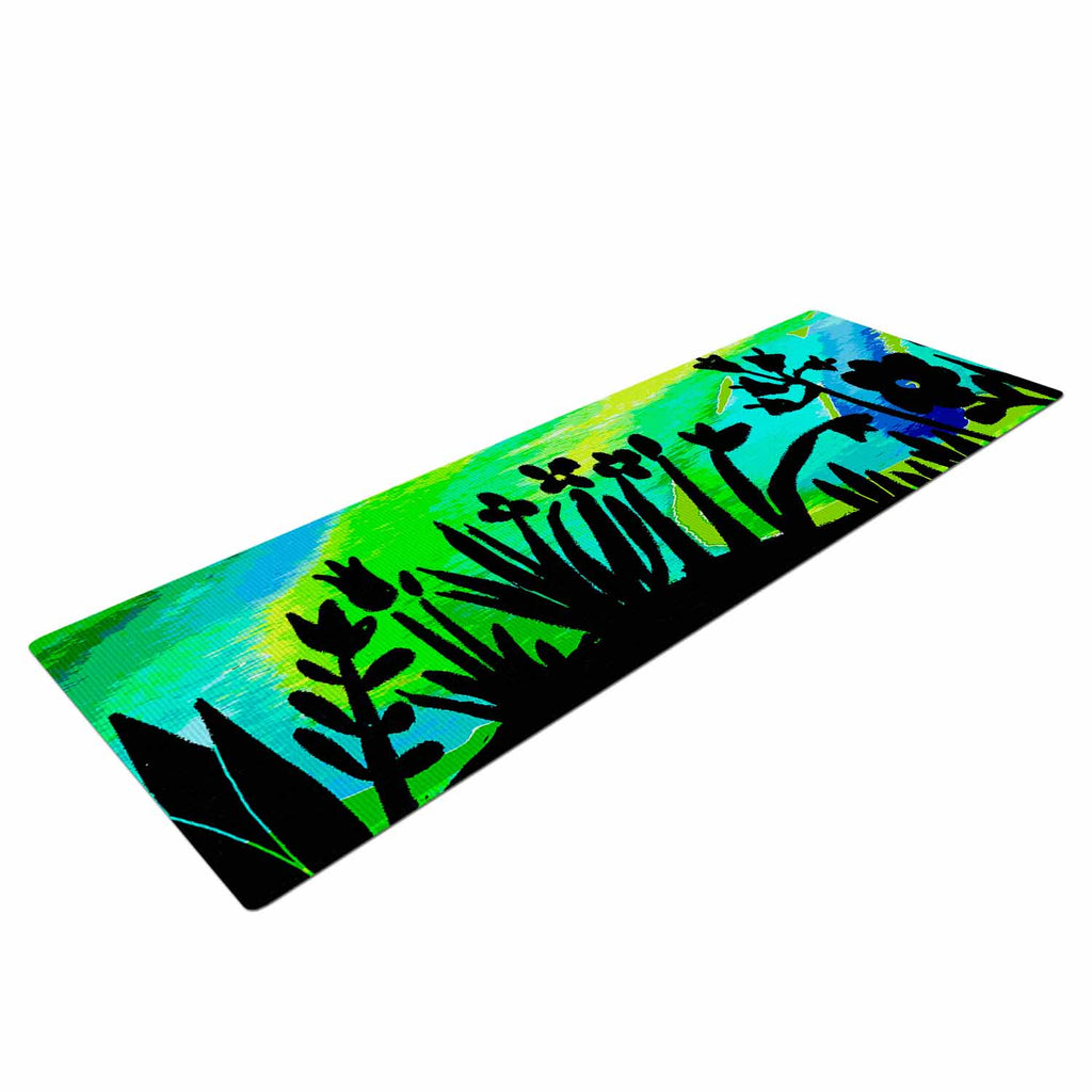 "Laura Nicholson ""Wild Landscape"" Blue Green Nature Fantasy Watercolor Illustration Yoga Mat"