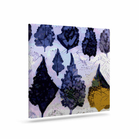 "Laura Nicholson ""Cool Blue Leaves"" Blue Gray Nature Pattern Photography Digital Art Canvas"