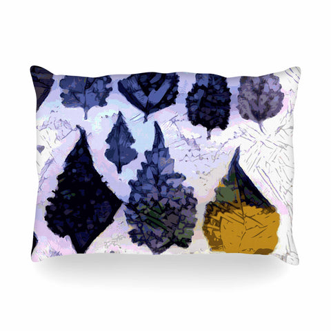 "Laura Nicholson ""Cool Blue Leaves"" Blue Gray Nature Pattern Photography Digital Oblong Pillow"