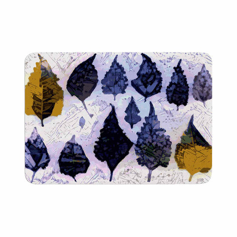"Laura Nicholson ""Cool Blue Leaves"" Blue Gray Nature Pattern Photography Digital Memory Foam Bath Mat"