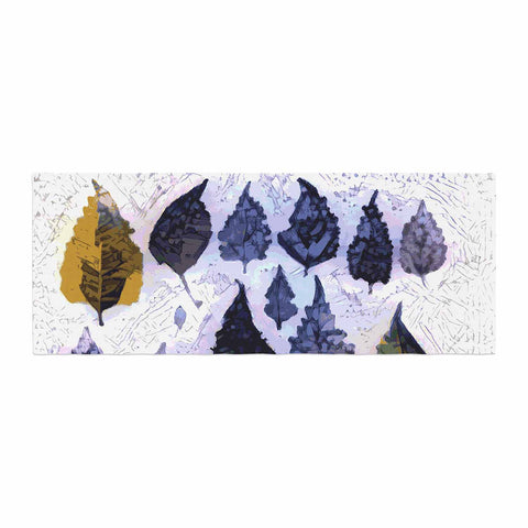 "Laura Nicholson ""Cool Blue Leaves"" Blue Gray Nature Pattern Photography Digital Bed Runner"