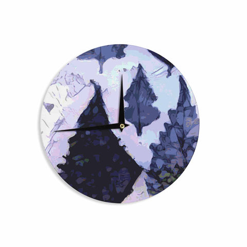 "Laura Nicholson ""Cool Blue Leaves"" Blue Gray Nature Pattern Photography Digital Wall Clock"