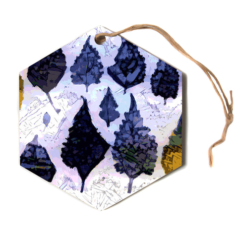 "Laura Nicholson ""Cool Blue Leaves"" Blue Gray Nature Pattern Photography Digital Hexagon Holiday Ornament"