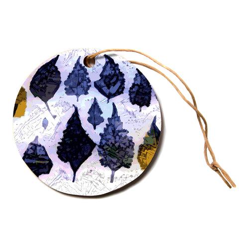 "Laura Nicholson ""Cool Blue Leaves"" Blue Gray Nature Pattern Photography Digital Circle Holiday Ornament"