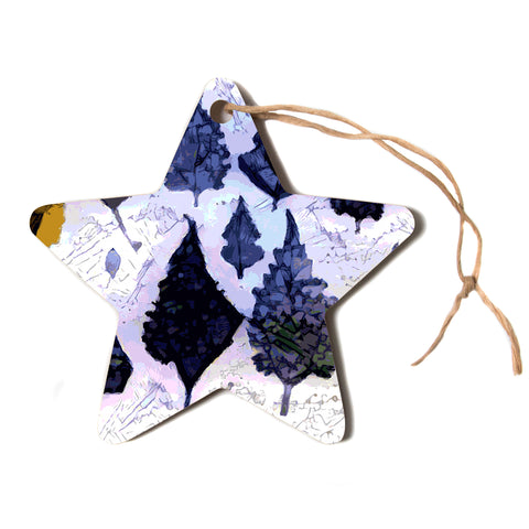 "Laura Nicholson ""Cool Blue Leaves"" Blue Gray Nature Pattern Photography Digital Star Holiday Ornament"