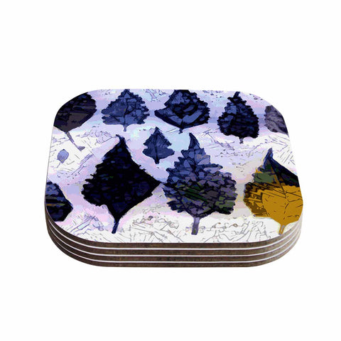 "Laura Nicholson ""Cool Blue Leaves"" Blue Gray Nature Pattern Photography Digital Coasters (Set of 4)"