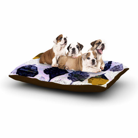 "Laura Nicholson ""Cool Blue Leaves"" Blue Gray Nature Pattern Photography Digital Dog Bed"