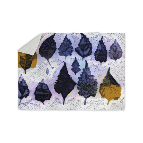 "Laura Nicholson ""Cool Blue Leaves"" Blue Gray Nature Pattern Photography Digital Sherpa Blanket"