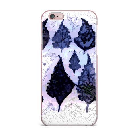 "Laura Nicholson ""Cool Blue Leaves"" Blue Gray Nature Pattern Photography Digital iPhone Case"