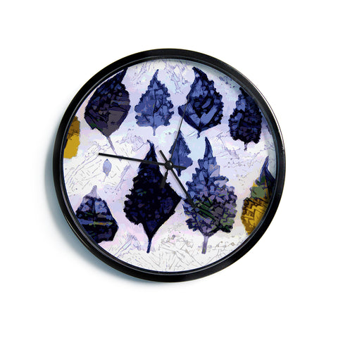 "Laura Nicholson ""Cool Blue Leaves"" Blue Gray Nature Pattern Photography Digital Modern Wall Clock"