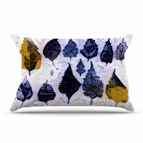 "Laura Nicholson ""Cool Blue Leaves"" Blue Gray Nature Pattern Photography Digital Pillow Sham"