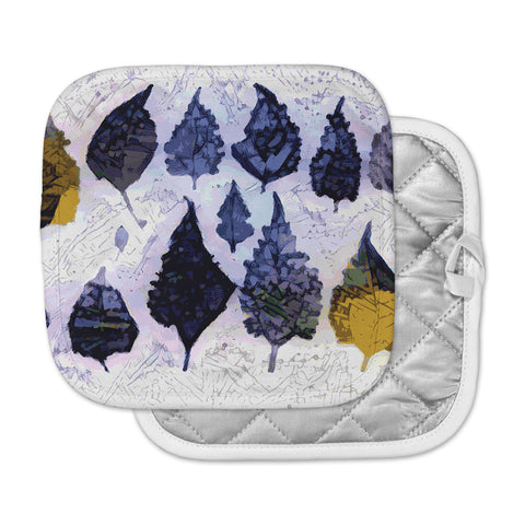 "Laura Nicholson ""Cool Blue Leaves"" Blue Gray Nature Pattern Photography Digital Pot Holder"