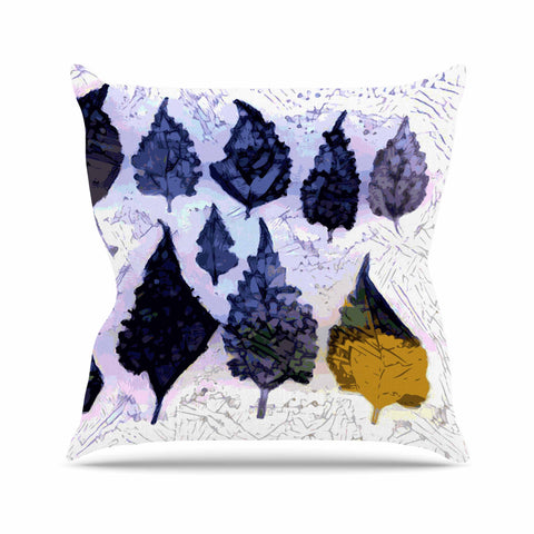 "Laura Nicholson ""Cool Blue Leaves"" Blue Gray Nature Pattern Photography Digital Outdoor Throw Pillow"