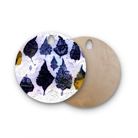 "Laura Nicholson ""Cool Blue Leaves"" Blue Gray Nature Pattern Photography Digital Round Wooden Cutting Board"