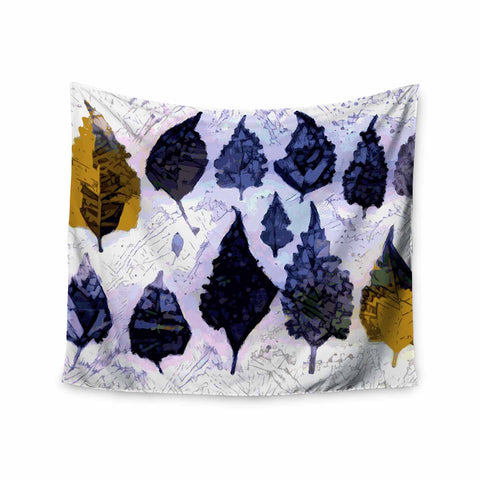 "Laura Nicholson ""Cool Blue Leaves"" Blue Gray Nature Pattern Photography Digital Wall Tapestry"