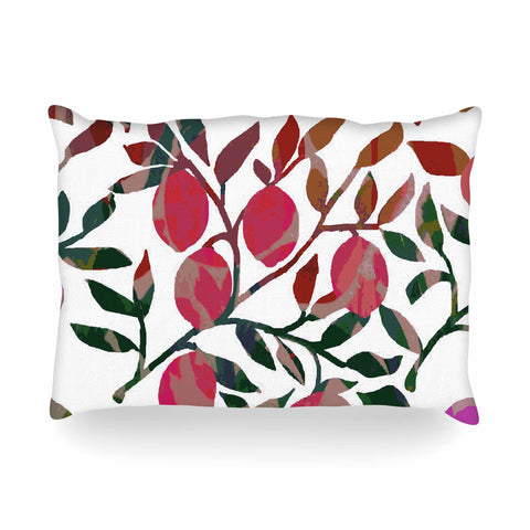 "Laura Nicholson ""Rosy Fruits"" Pink Coral Floral Contemporary Illustration Digital Oblong Pillow"
