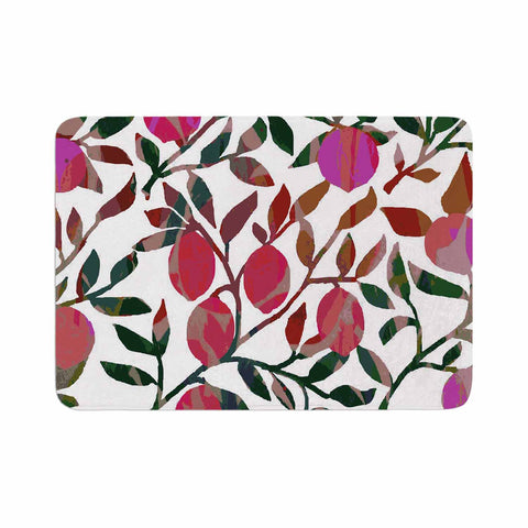 "Laura Nicholson ""Rosy Fruits"" Pink Coral Floral Contemporary Illustration Digital Memory Foam Bath Mat"