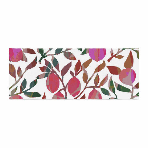 "Laura Nicholson ""Rosy Fruits"" Pink Coral Floral Contemporary Illustration Digital Bed Runner"