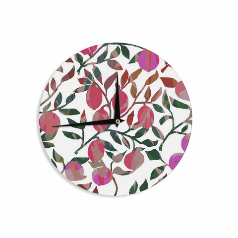 "Laura Nicholson ""Rosy Fruits"" Pink Coral Floral Contemporary Illustration Digital Wall Clock"