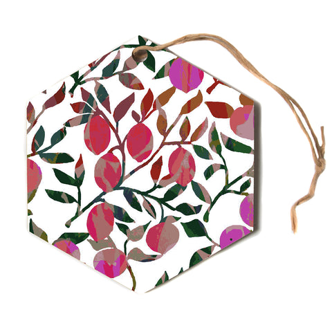"Laura Nicholson ""Rosy Fruits"" Pink Coral Floral Contemporary Illustration Digital Hexagon Holiday Ornament"