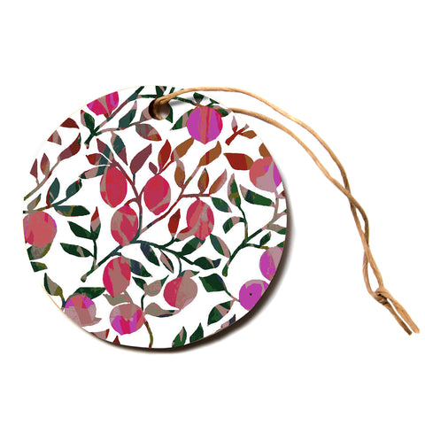 "Laura Nicholson ""Rosy Fruits"" Pink Coral Floral Contemporary Illustration Digital Circle Holiday Ornament"