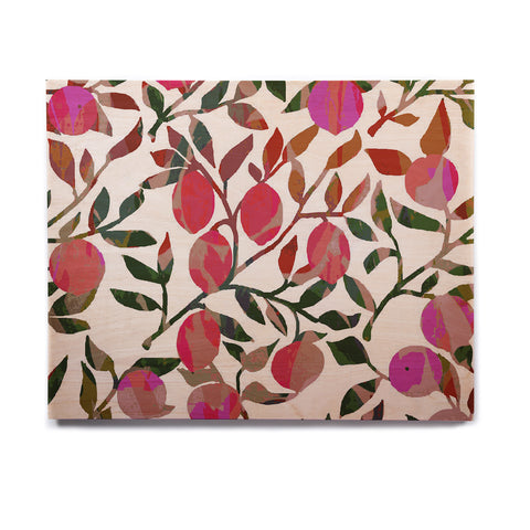 "Laura Nicholson ""Rosy Fruits"" Pink Coral Floral Contemporary Illustration Digital Birchwood Wall Art"