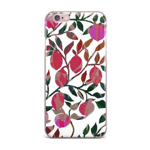 "Laura Nicholson ""Rosy Fruits"" Pink Coral Floral Contemporary Illustration Digital iPhone Case"