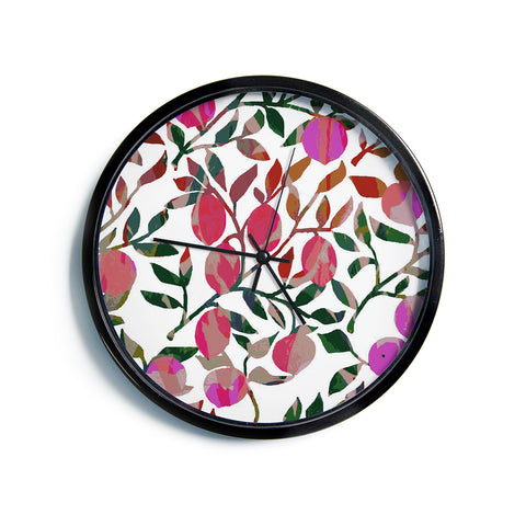 "Laura Nicholson ""Rosy Fruits"" Pink Coral Floral Contemporary Illustration Digital Modern Wall Clock"