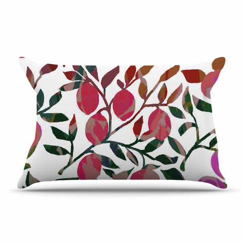 "Laura Nicholson ""Rosy Fruits"" Pink Coral Floral Contemporary Illustration Digital Pillow Sham"