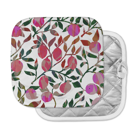 "Laura Nicholson ""Rosy Fruits"" Pink Coral Floral Contemporary Illustration Digital Pot Holder"