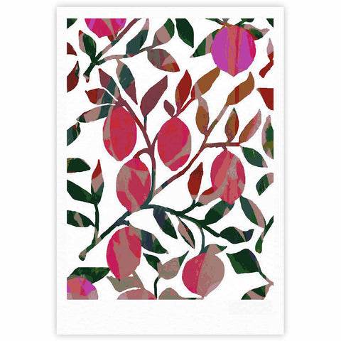"Laura Nicholson ""Rosy Fruits"" Pink Coral Floral Contemporary Illustration Digital Fine Art Gallery Print"