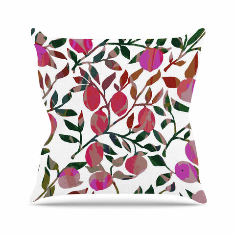 "Laura Nicholson ""Rosy Fruits"" Pink Coral Floral Contemporary Illustration Digital Outdoor Throw Pillow"