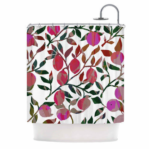"Laura Nicholson ""Rosy Fruits"" Pink Coral Floral Contemporary Illustration Digital Shower Curtain"