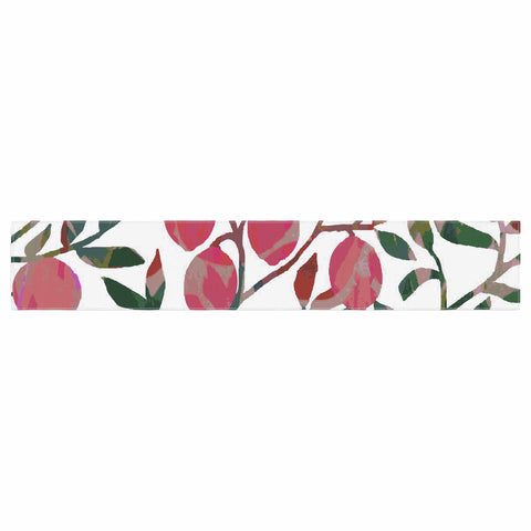 "Laura Nicholson ""Rosy Fruits"" Pink Coral Floral Contemporary Illustration Digital Table Runner"