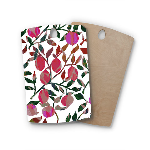 "Laura Nicholson ""Rosy Fruits"" Pink Coral Floral Contemporary Illustration Digital Rectangle Wooden Cutting Board"