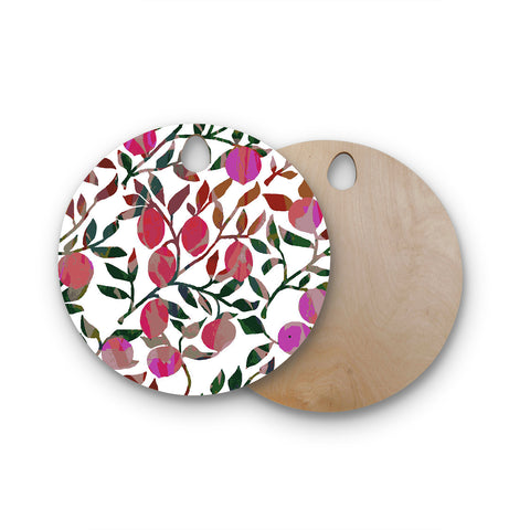 "Laura Nicholson ""Rosy Fruits"" Pink Coral Floral Contemporary Illustration Digital Round Wooden Cutting Board"