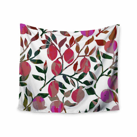 "Laura Nicholson ""Rosy Fruits"" Pink Coral Floral Contemporary Illustration Digital Wall Tapestry"
