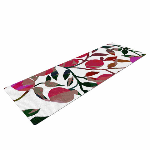 "Laura Nicholson ""Rosy Fruits"" Pink Coral Floral Contemporary Illustration Digital Yoga Mat"