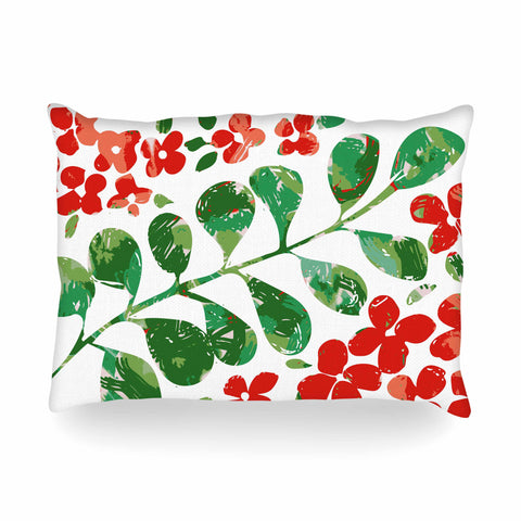 "Laura Nicholson ""Watercolor Floral"" Red Green Floral Nature Watercolor Illustration Oblong Pillow"