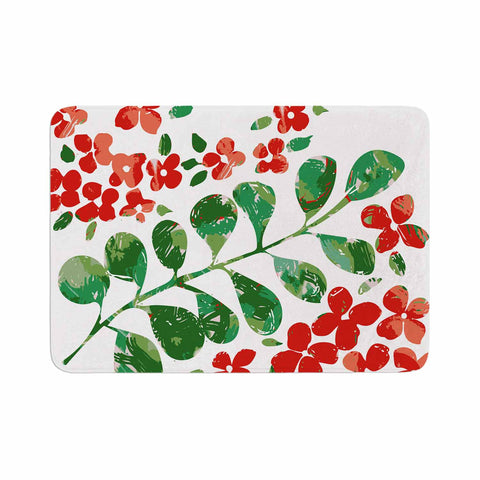 "Laura Nicholson ""Watercolor Floral"" Red Green Floral Nature Watercolor Illustration Memory Foam Bath Mat"