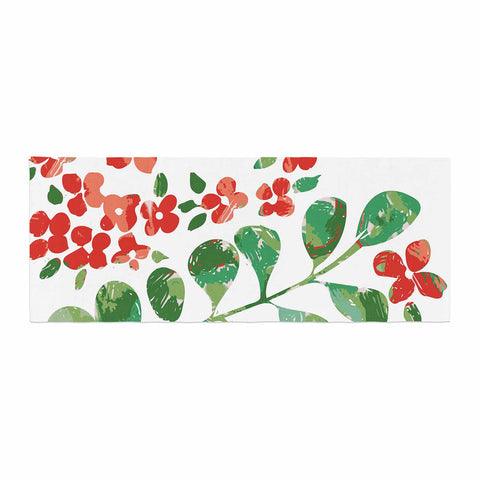 "Laura Nicholson ""Watercolor Floral"" Red Green Floral Nature Watercolor Illustration Bed Runner"