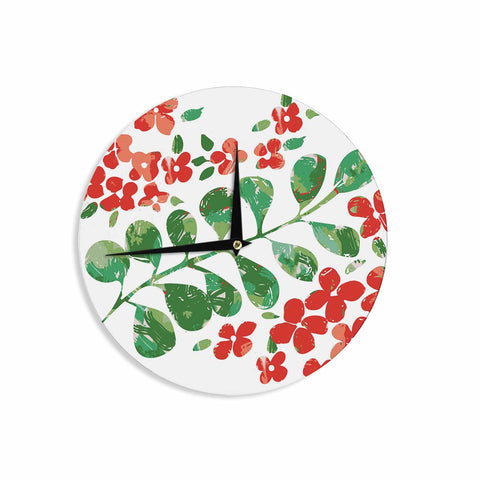 "Laura Nicholson ""Watercolor Floral"" Red Green Floral Nature Watercolor Illustration Wall Clock"
