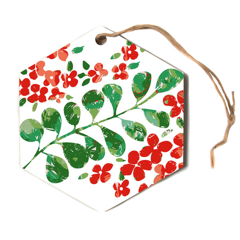 "Laura Nicholson ""Watercolor Floral"" Red Green Floral Nature Watercolor Illustration Hexagon Holiday Ornament"