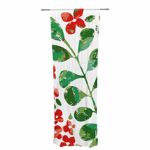 "Laura Nicholson ""Watercolor Floral"" Red Green Floral Nature Watercolor Illustration Decorative Sheer Curtain"