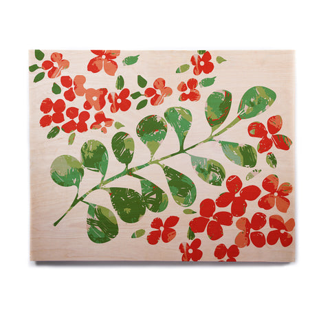 "Laura Nicholson ""Watercolor Floral"" Red Green Floral Nature Watercolor Illustration Birchwood Wall Art"