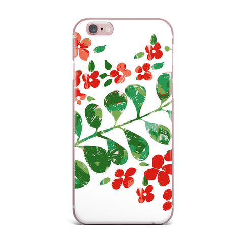 "Laura Nicholson ""Watercolor Floral"" Red Green Floral Nature Watercolor Illustration iPhone Case"