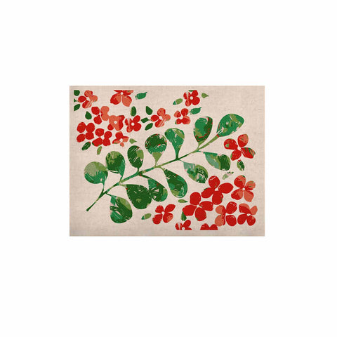 "Laura Nicholson ""Watercolor Floral"" Red Green Floral Nature Watercolor Illustration KESS Naturals Canvas (Frame not Included)"
