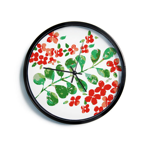 "Laura Nicholson ""Watercolor Floral"" Red Green Floral Nature Watercolor Illustration Modern Wall Clock"